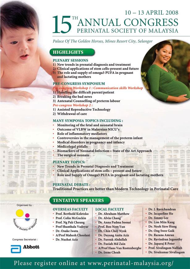15th Annual Congress of the Perinatal Society of Malaysia