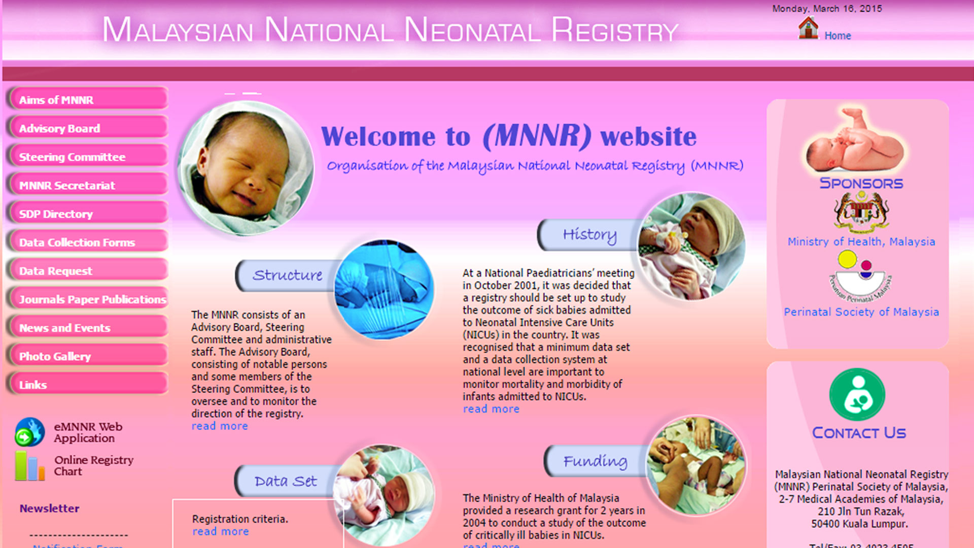 Malaysian National Neonatal Registry website